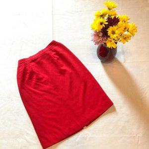 Cute Red Vintage Pencil Midi Skirt XS/S